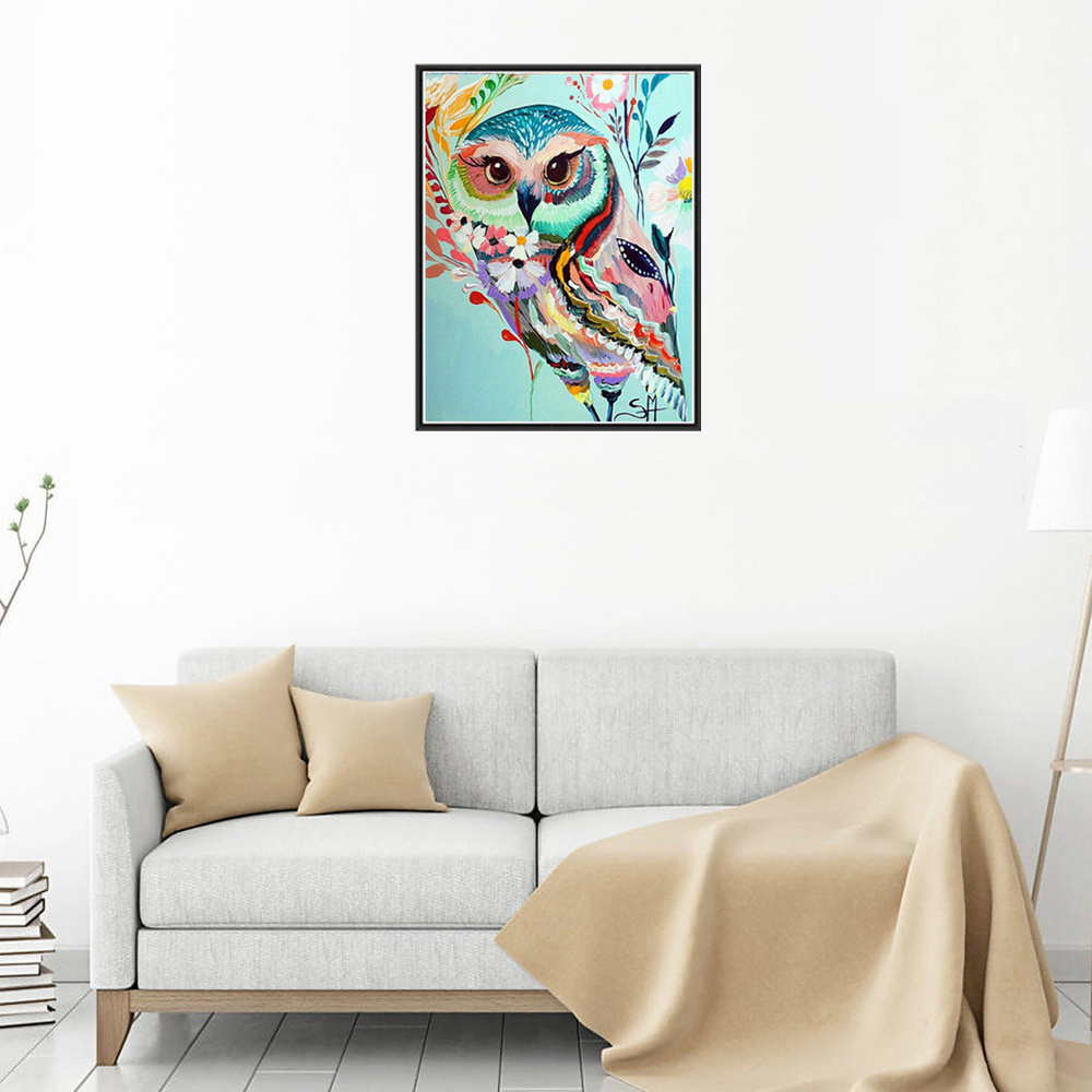 Colored Owl Print Draw Diamond Drawing