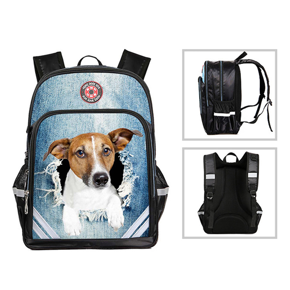 RUNNINGTIGER Children School Bags Waterproof Breathable 3D Dog & Cat Printed Backpacks For Boys Girls Reflected Light