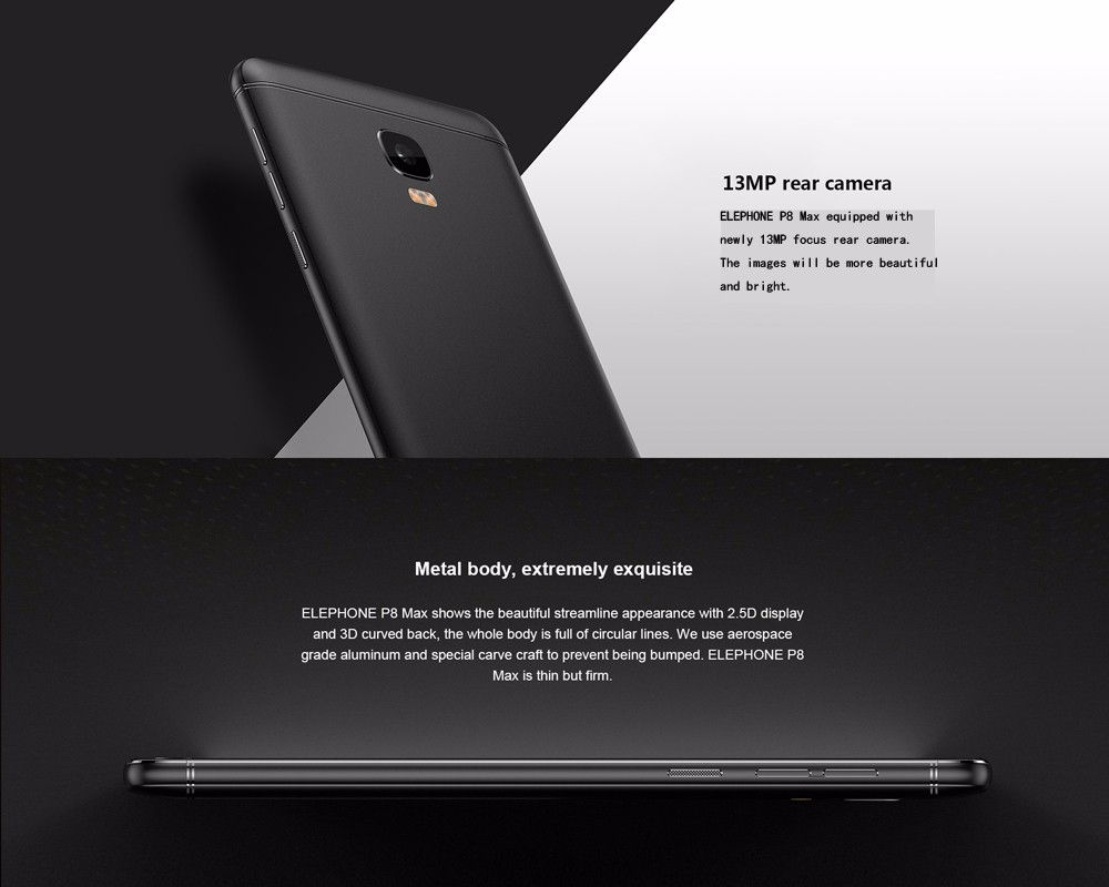 Elephone P8 MAX 4G Phablet 5.5 inch Android 7.0 MT6750T Octa Core 1.5GHz 4GB RAM 64GB ROM 16.0MP + 13.0MP Dual Face Beauty Cameras Fingerprint Sensor