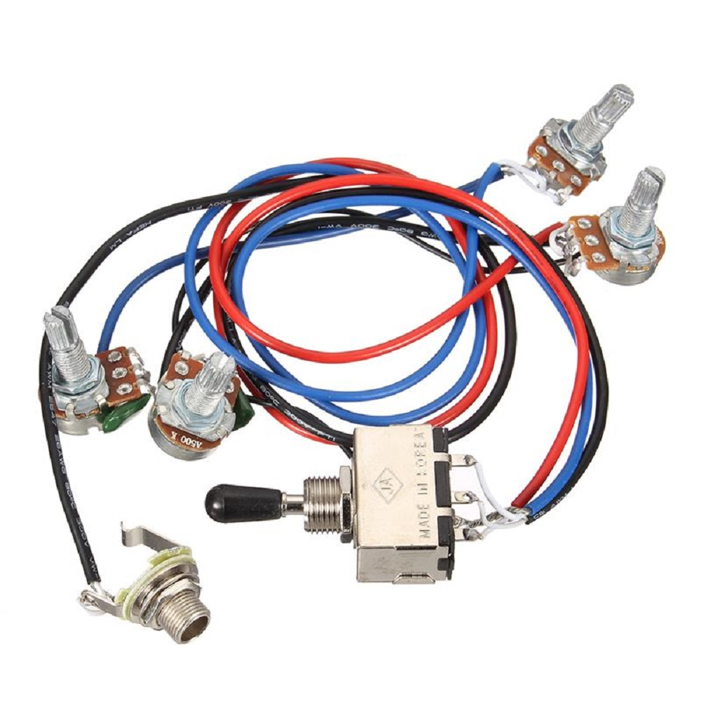 wiring harness 2v 2t 3 way toggle switch 500k pots for guitar dual humbucker replacement guitarra parts accessories guitar wiring diagrams 2 humbucker 3 way toggle switch greenten wiring harness prewired 2v2t 3