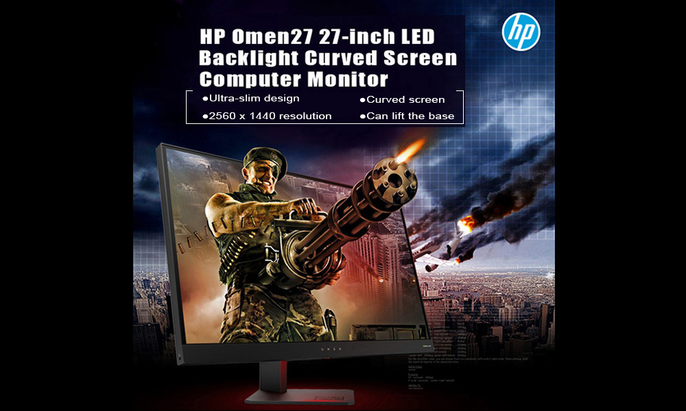 HP 27-inch 2K 2560 x 1440 Pixel 144Hz LED Backlight Curved Screen Computer Monitor