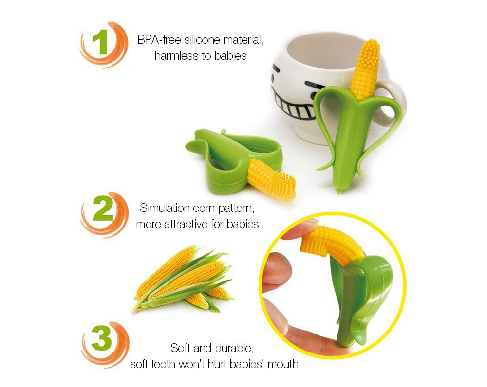 Soft Baby Corn Silicone Training Teether Toothbrush- Colormix