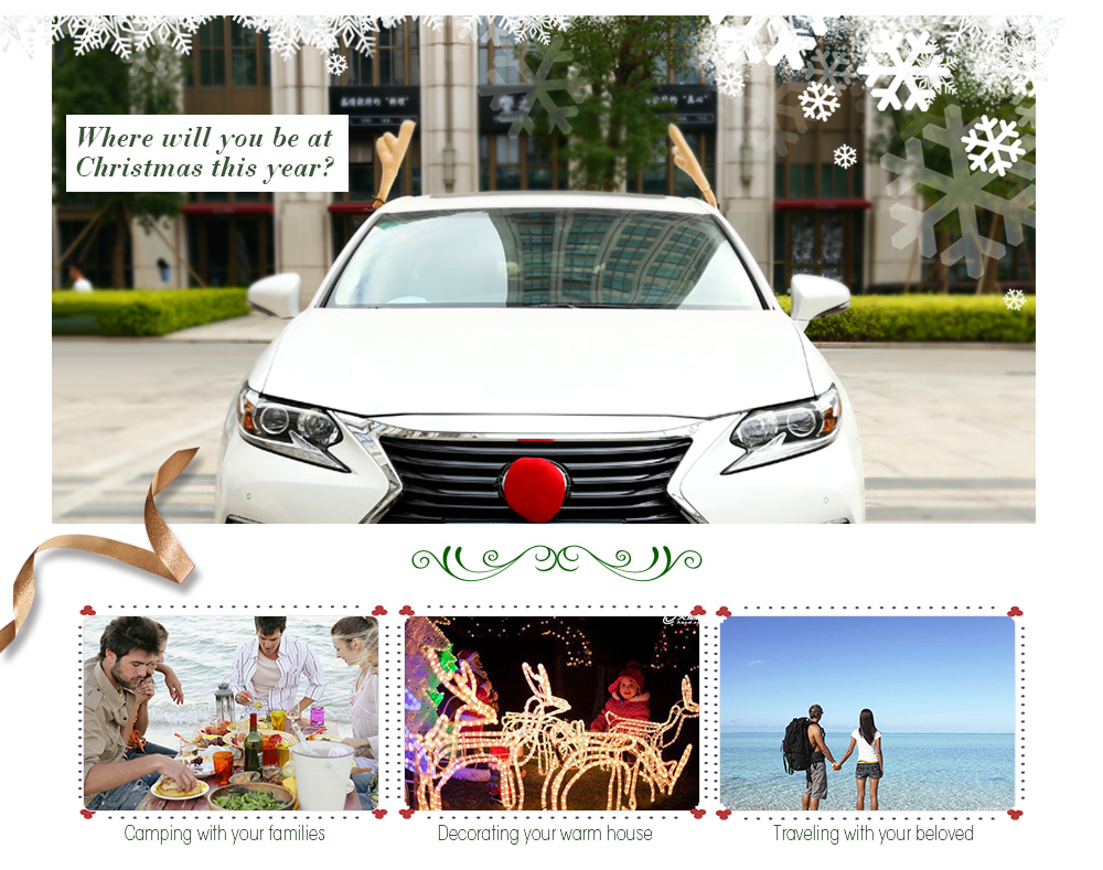 high quality christmas antlers nose for car decoration deep brown - Christmas Decorations For Your Car