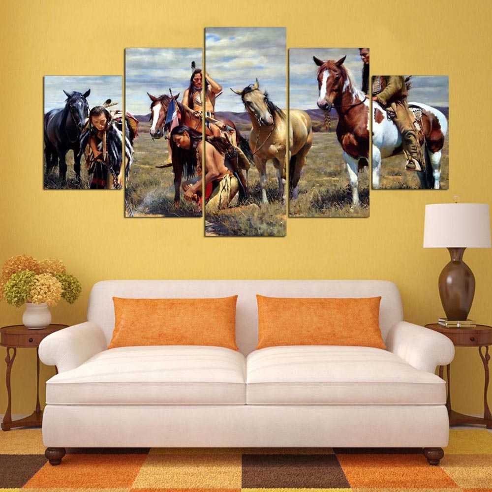 YSDAFEN 5 Panel American Native Tribes Indian Canvas Painting Wall ...