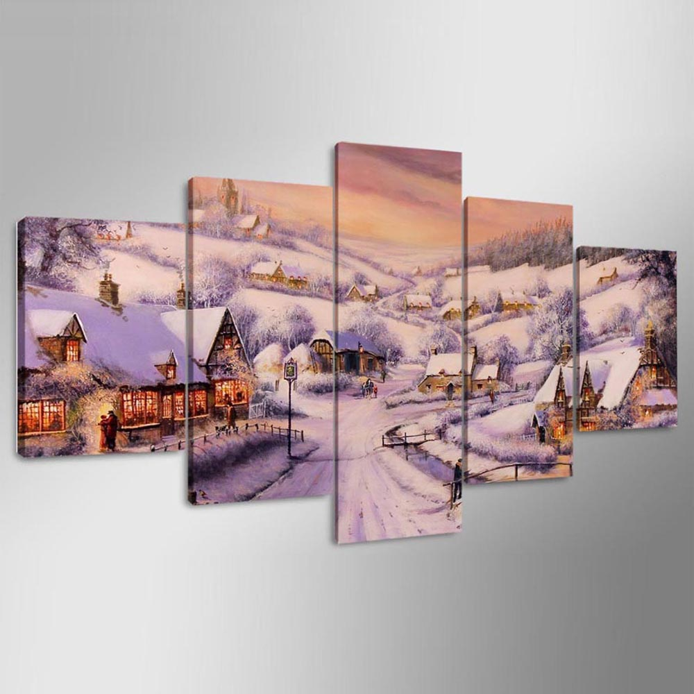 YSDAFEN 5 Piece HD Printed Snow Village Wall Pictures for Living Room