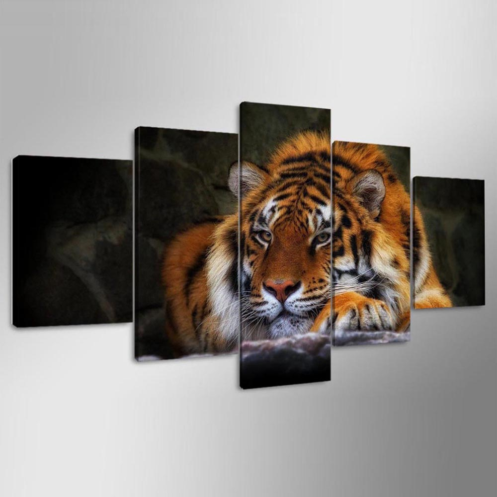 YSDAFEN 5 Piece HD Printed Wild Cat Tiger Wall Pictures for Living Room