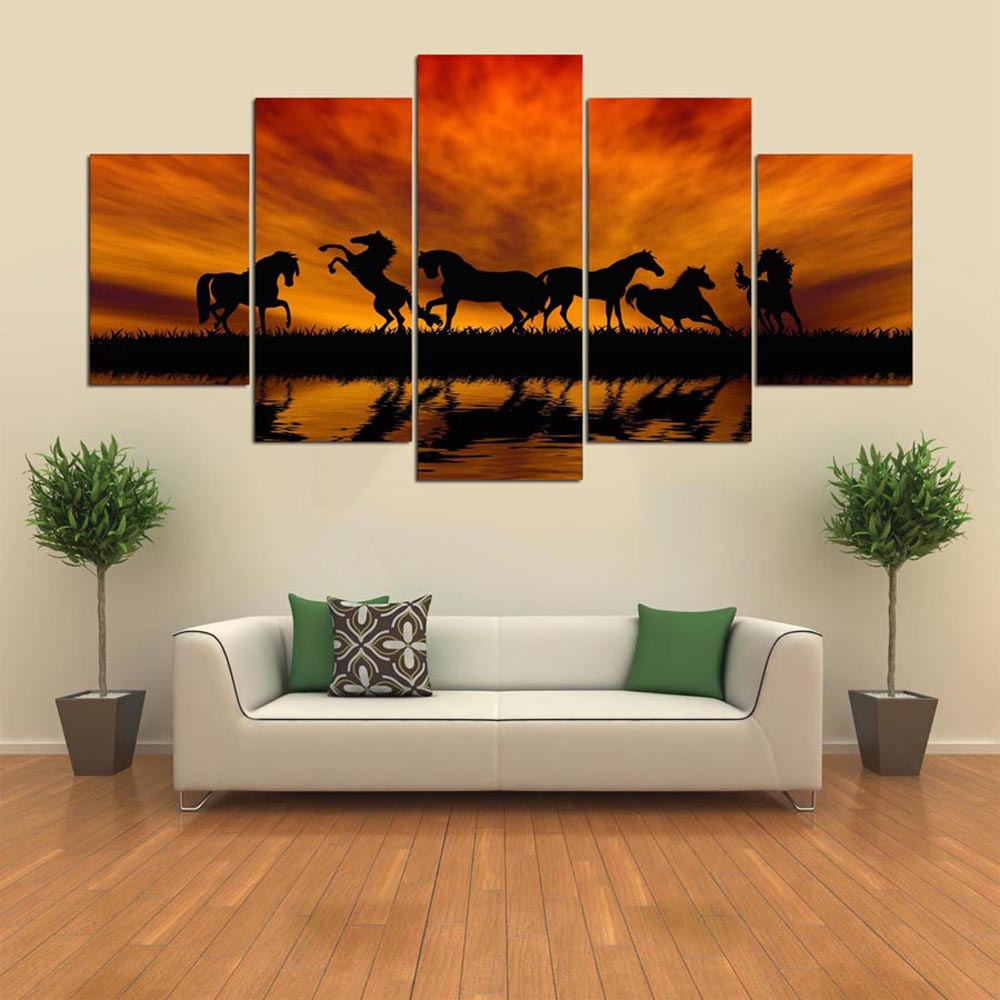 YSDAFEN 5 Piece HD Printed Horses The Setting Sun Wall Pictures for Living Room