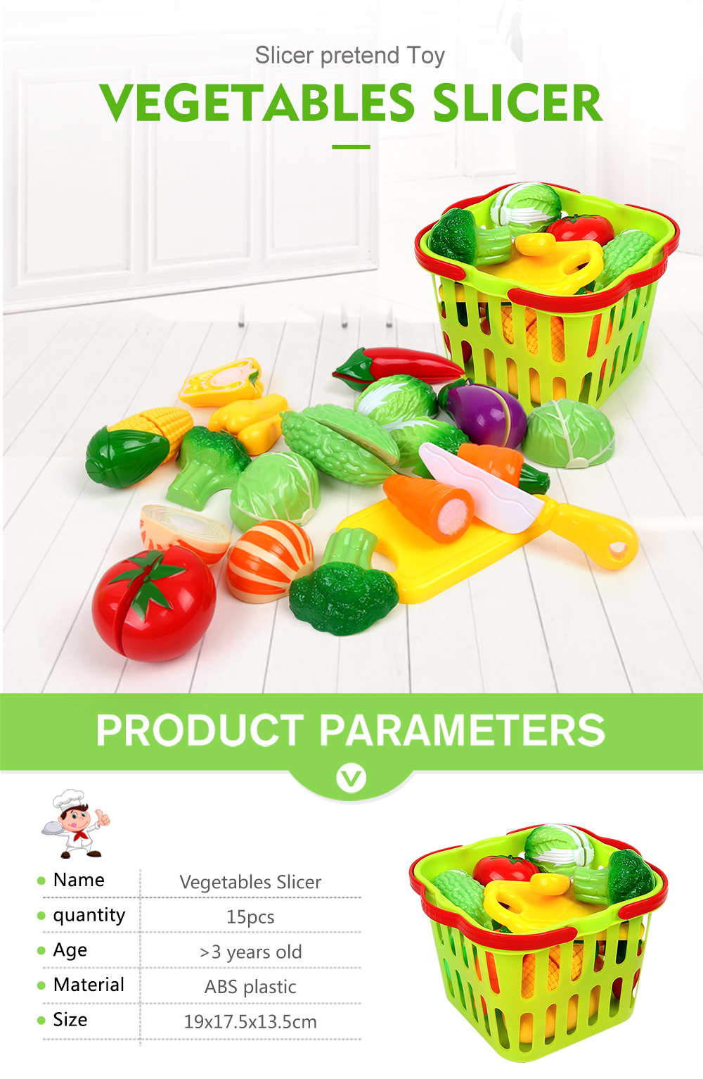 House Small Basket Vegetables Toy