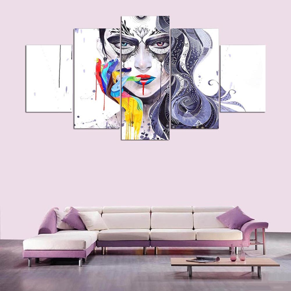 YSDAFEN 5 Piece HD Women Abstract Art Painting Wall Pictures for Living Room