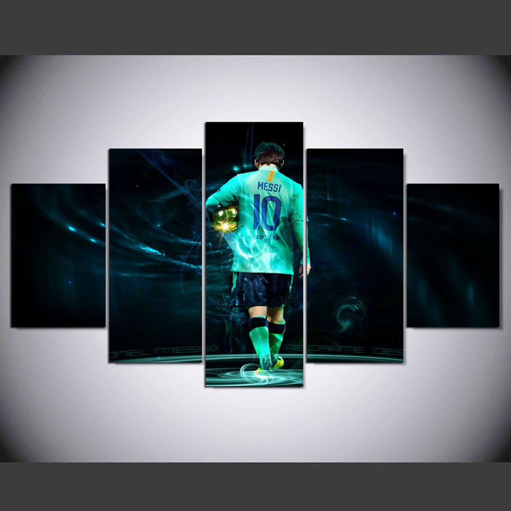 YSDAFEN 5 Panels Artwork Football Star Wall Art Canvas Paintings For Living Room