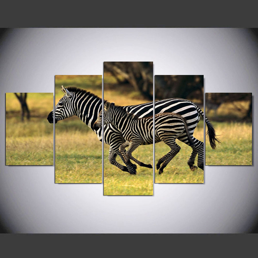 YSDAFEN 5 Panel Modern Hd Baby Zebra and Mom Canvas Art Wall Framed Paintings for Living Room