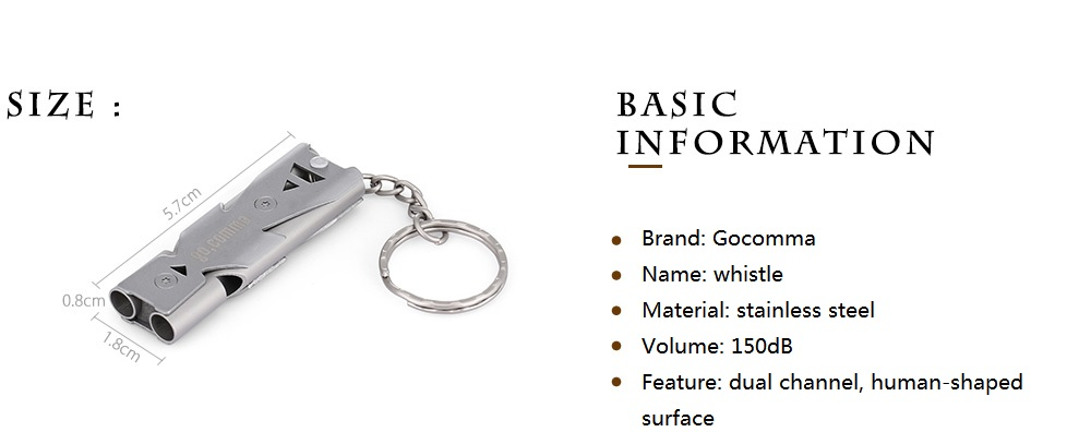 Stainless Steel High-frequency Decibel Whistle Metal Outdoor Survival Whistle W1