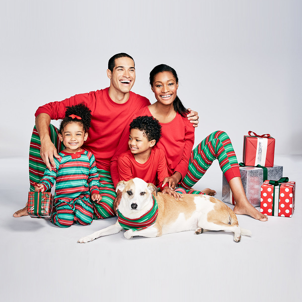 Green stripe Christmas style home pajamas