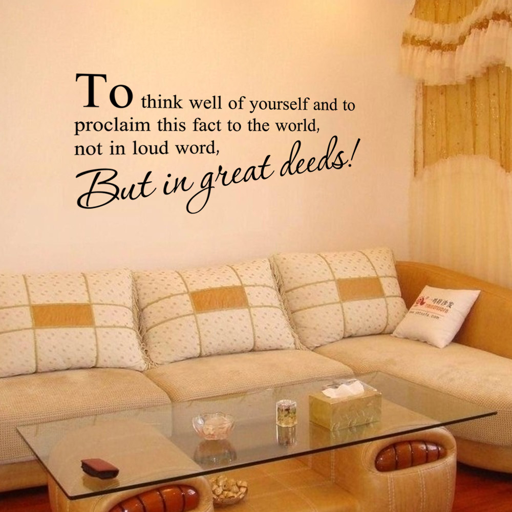 DSU To Think Well Wall Sticker English Quote Vinyl Home Decor ...