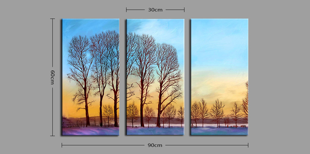 E - HOME Beautiful Scenery Pattern Framed Decorative Canvas Print Wall Art Painting 3PCS