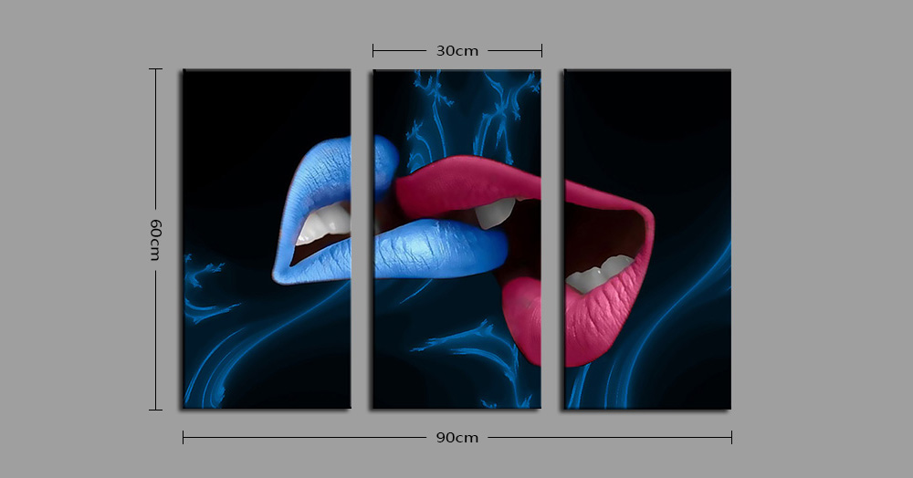 E - HOME Sexy Lips Pattern Framed Decorative Canvas Print Wall Art Painting 3PCS