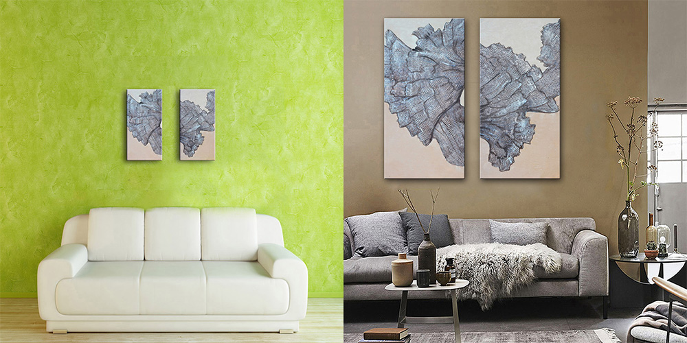 E - HOME Abstract Pattern Framed Decorative Canvas Print Wall Art Painting 2PCS