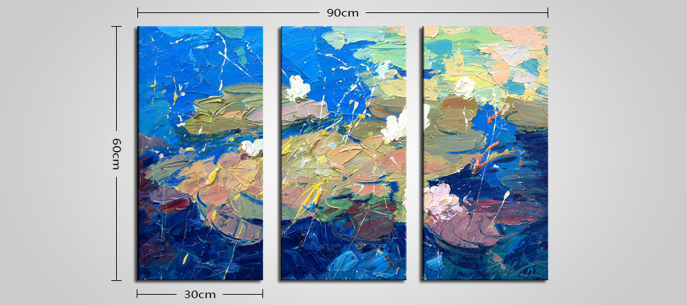 E - HOME Abstract Lotus Pond Pattern Framed Decorative Canvas Print Wall Art Painting 3PCS