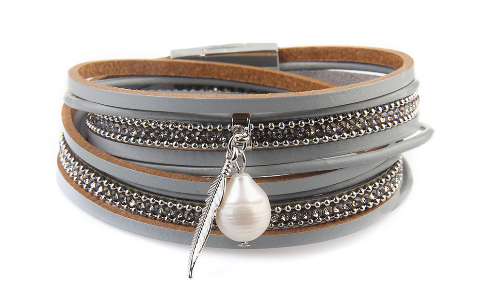 New Ornaments Fashion Summer Multilevel Pearls and Feather Bracelets- Khaki