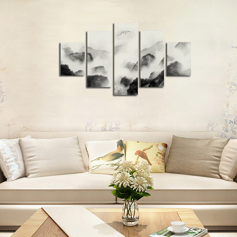 QiaoJiaHuaYuan Frameless Canvas Five With Drawing Abstract Mountain ...
