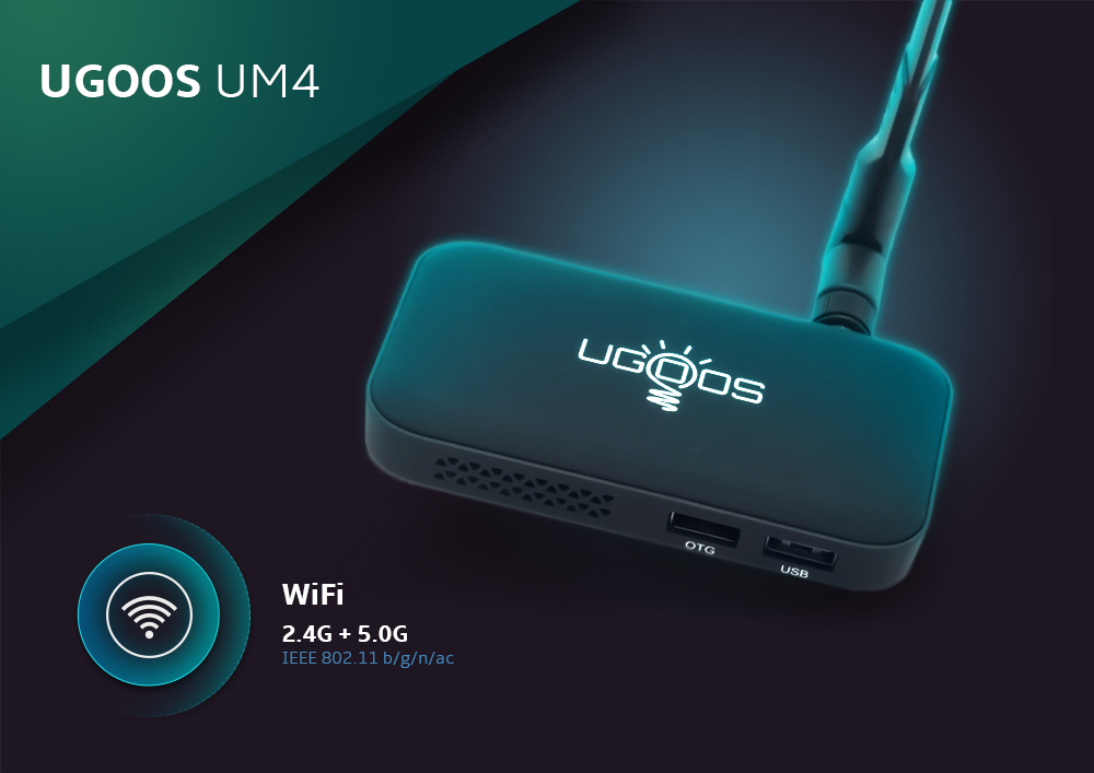 Ugoos UM4 TV Dongle RK3328 Android 7.1 / 2GB DDR4 RAM + 16GB EMMC ROM / 2.4GHz + 5GHz Wi-Fi / USB3.0 / BT4.0