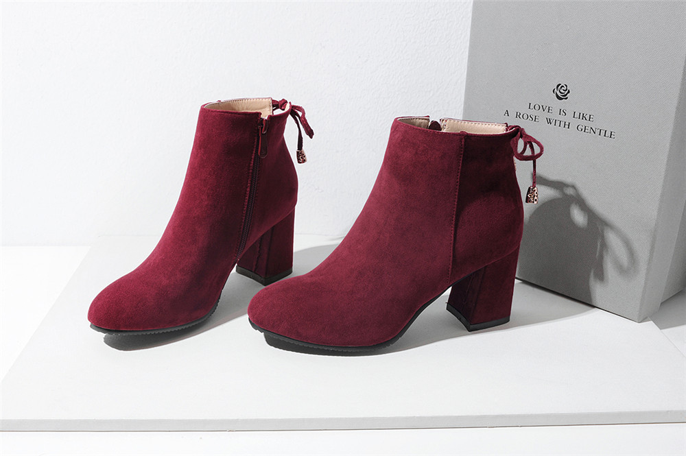 Shoes Miss Ascp07-8 Thick High Heels with Rounded Head Zipper Fashion Boots