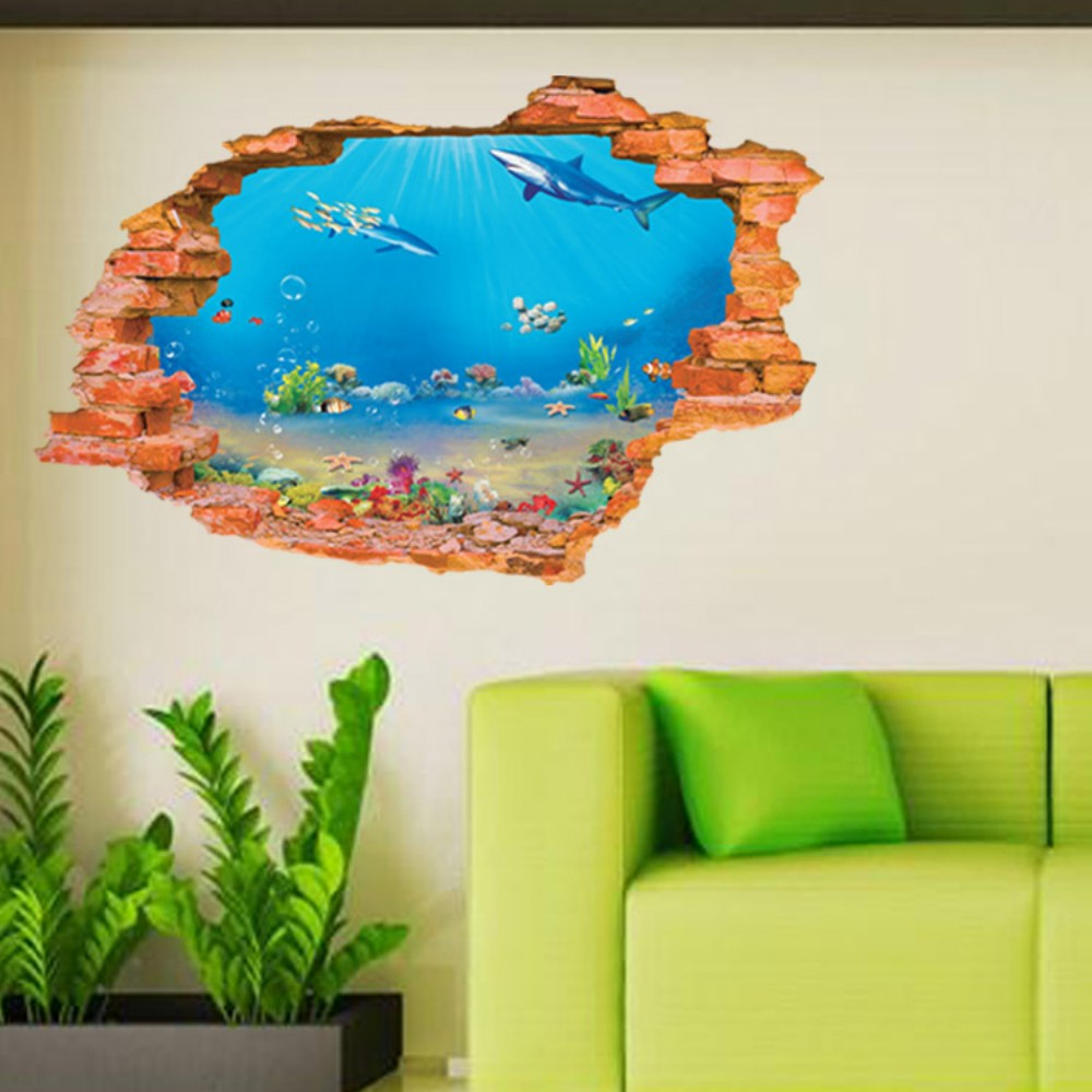 3d sea fishes underwater world wall sticker dolphin wall decals 3d sea fishes underwater world wall sticker dolphin wall decals home decor for kids room amipublicfo Image collections