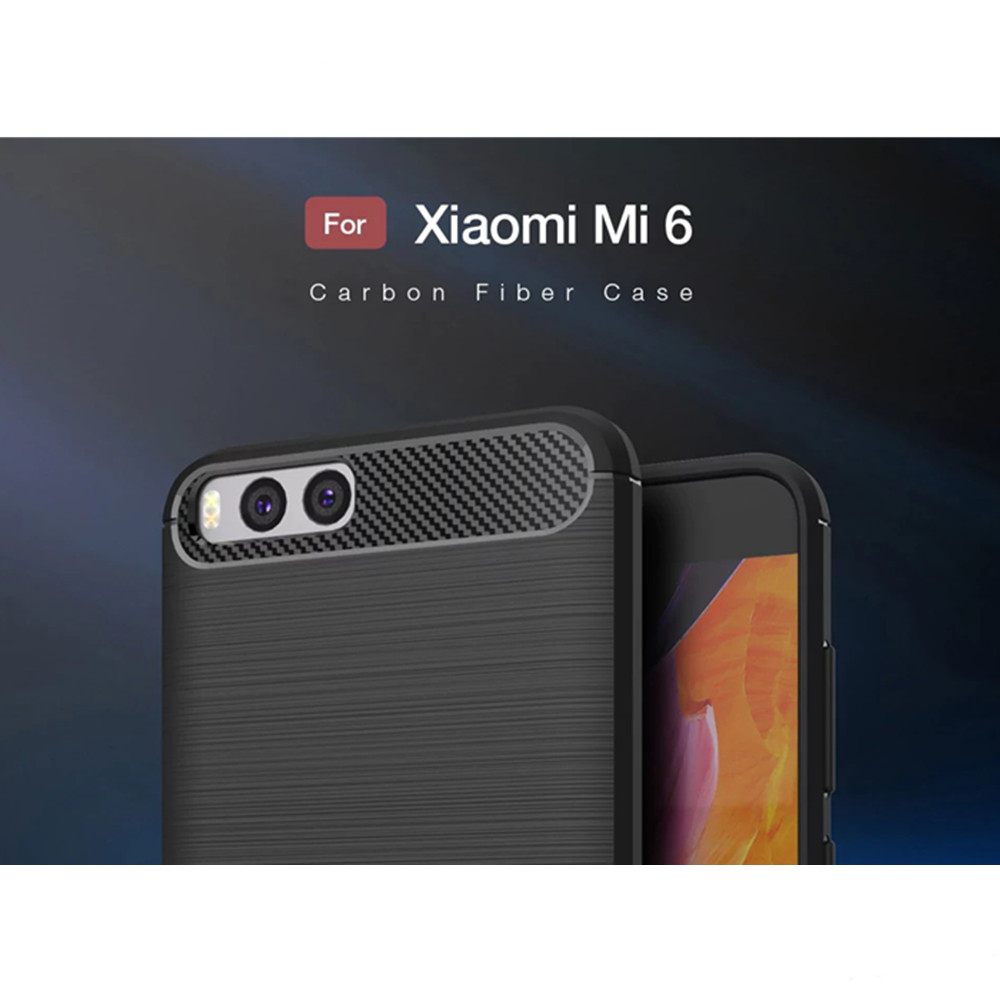 Brushed Finish Cover Soft Carbon Fiber Phone Protector Case for Xiaomi Mi 6
