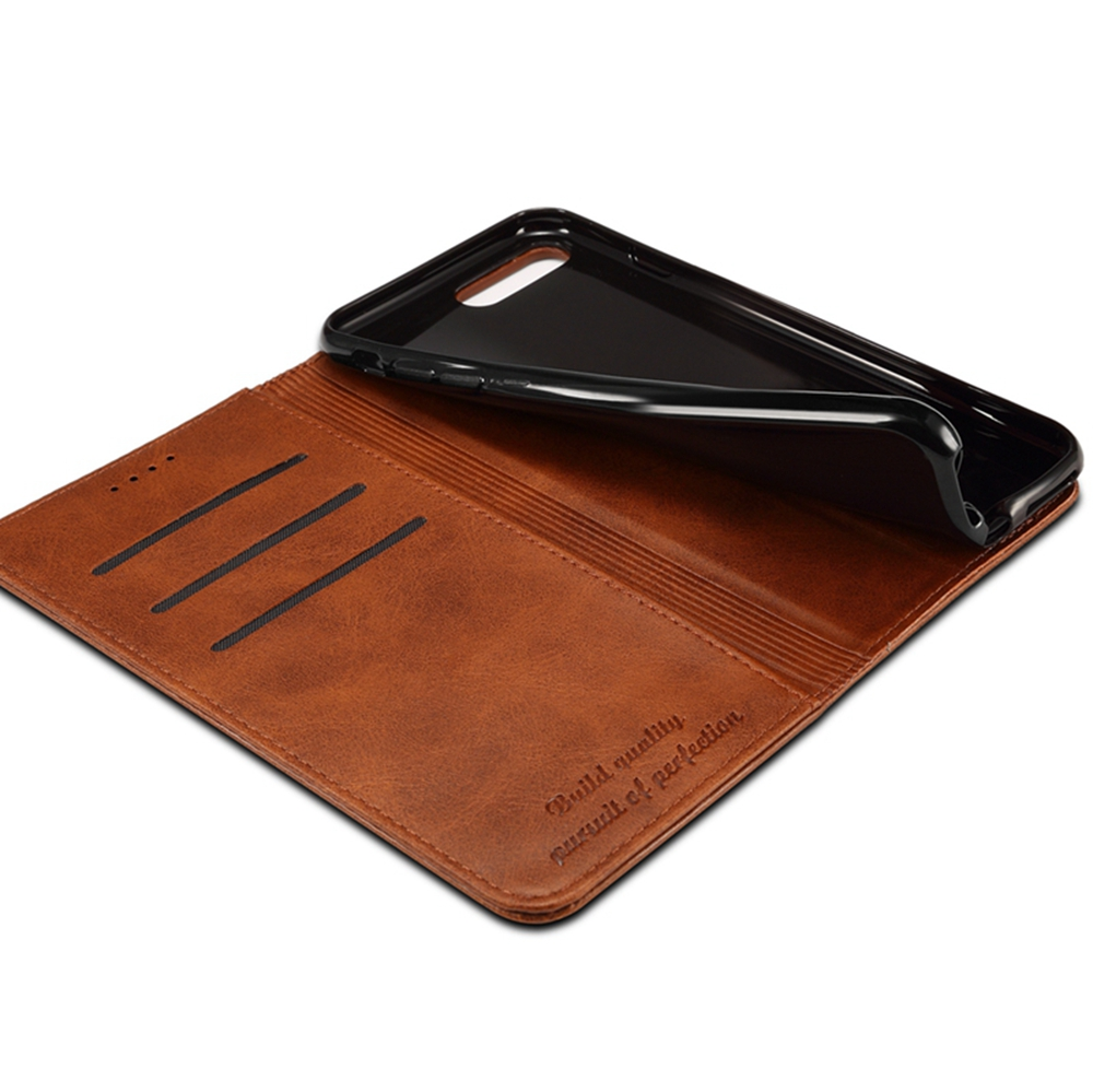Magnetic Closure Cow Leather Case with Card Slots and Kickstand for iPhone 7 / 8