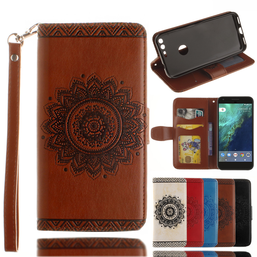 Luxury Retro Mandala Flip Leather Case For Google Pixel 5.0