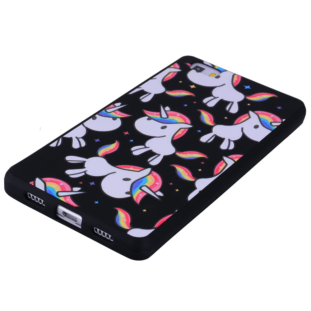 Rainbow Unicorn For Huawei P8 lite Fashion Cartoon Relief Soft Silicone TPU Phone Case For Huawei P8 lite Cover Cases