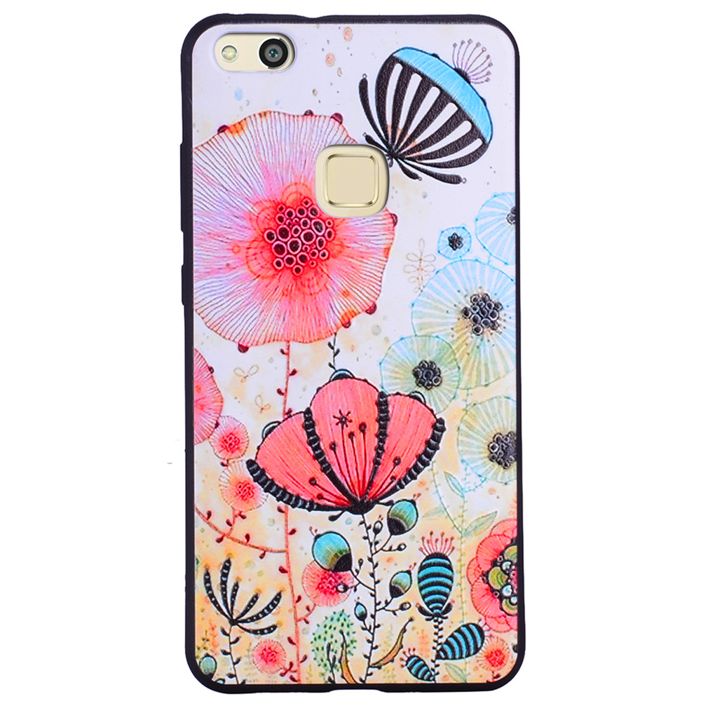 Pink flower Phone Case For Huawei P10 lite Fashion Cartoon Relief Soft Silicone TPU For Huawei P10 lite Cover Cases