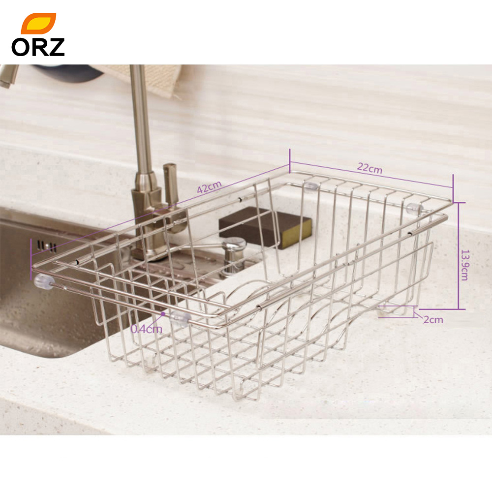 ORZ Kitchen Drainer Drying Basket Stainless Steel Adjustable Sink Drainer  Rack Fruits Vegetables Wash Tray
