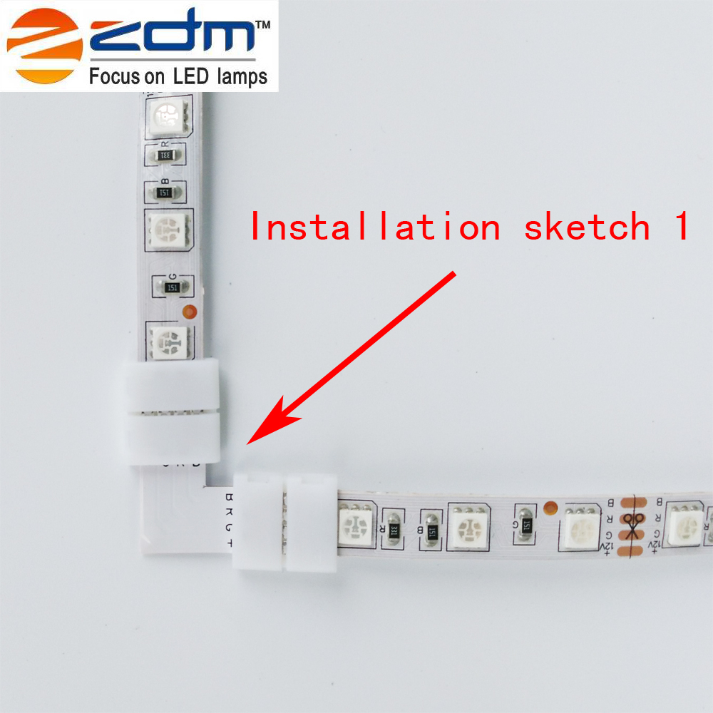 Zdm 5pcs L Type Led Strip Connector 5050 10mm Rgb Wiring Diagram 8 Rgbw Series With Parallel