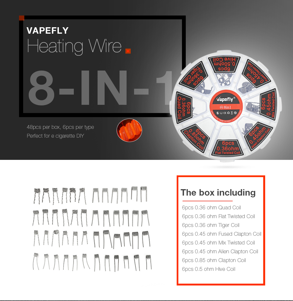 Vapefly 8-in-1 Heating Wire with 0.5 ohm / 0.36 ohm / 0.85 ohm / 0.45 ohm / 48pcs for E Cigarette - Silver