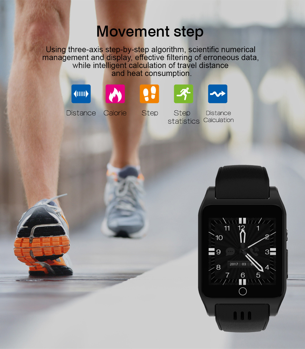 Ourtime X86 3G Smartwatch Phone Android 4.4 1.54 inch MTK6572 Dual Core 1.0GHz 4GB ROM 0.3MP Camera sleep Monitor