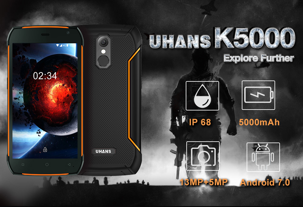 UHANS K5000 4G Smartphone 5.0 inch Android 7.0 MTK6753 Octa Core 1.3GHz 3GB RAM 32GB ROM Fingerprint Scanner OTG Function IP68 Waterproof
