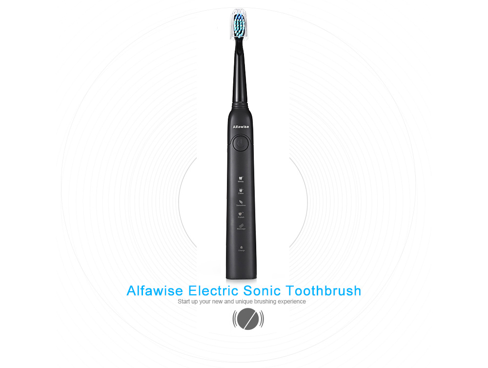 Alfawise SG - 949 Sonic Electric Toothbrush with Smart Timer Five Brushing Modes Waterproof with 3 Brush Heads- Black