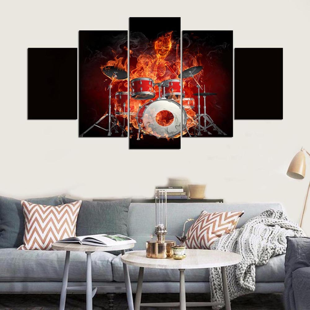YSDAFEN 5 Piece Wall Canvas Flame Skull Drums Fire Combine ...