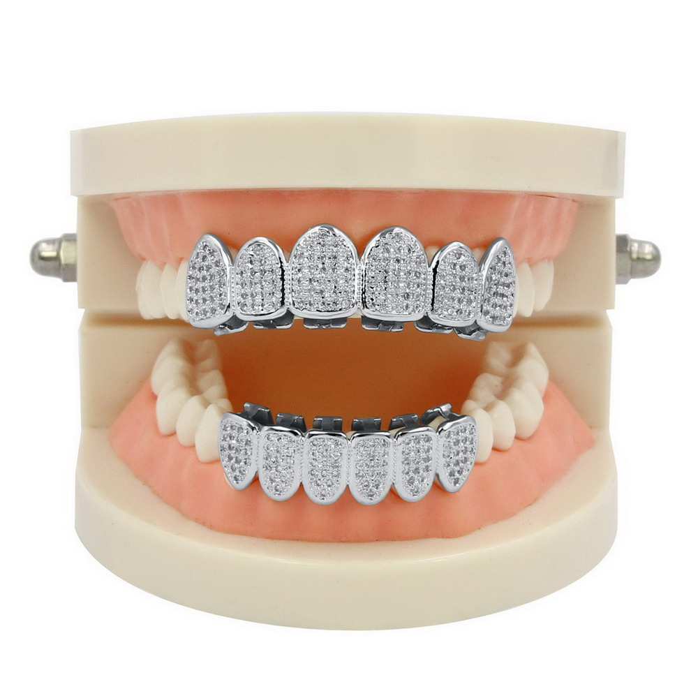 Hip Hop 18k Gold Plated Vampire Cz Stone Teeth Grillz 3338 Free Note Majority Colors Line Colorpin Numberconnector Number Golden