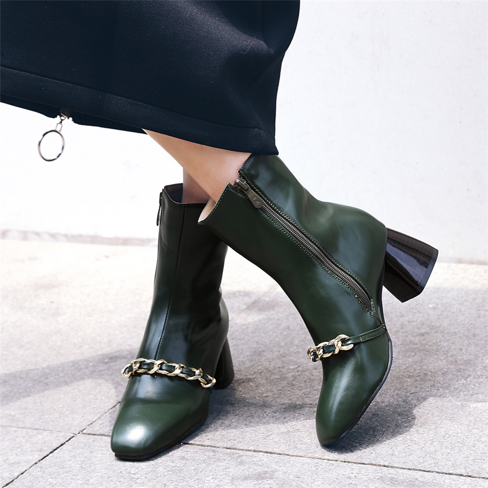 Shoe Miss ASCP07- 7SQUARE Head and Zipper Fashion Ankle Boots