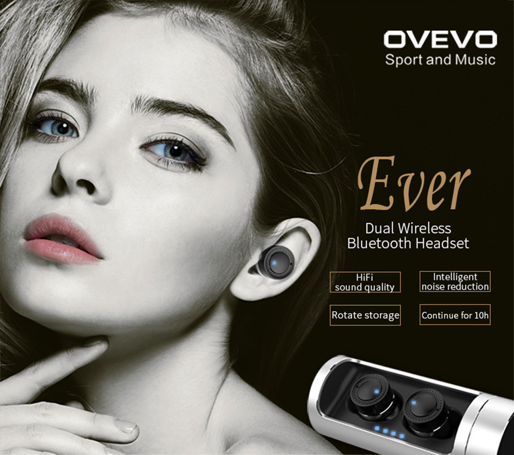 OVEVO Q62 Mini TWS Dual Stereo Bluetooth Headsets with 800mAh Large Capacity Charging Dock
