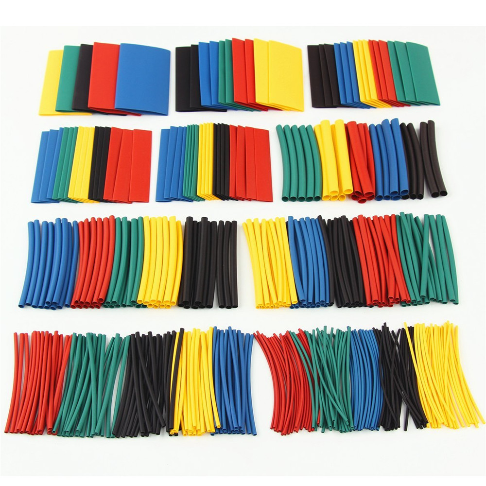 HakkaDeal 410 PCS Heat Shrink Tubing Shrinkage 2:1 Tube Wrap Sleeving Wire Cable Kits 10 Sizes 5Colors With Plastic Bags