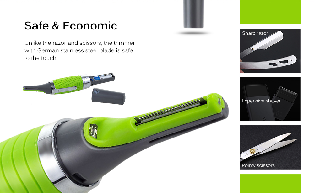 New Magic Max Personal Trimmer Multifunctional Hair Remover for Men - Green- Green