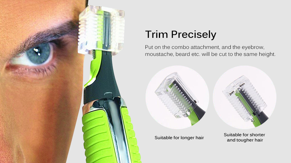 eyebrow trimmer men. new magic max personal trimmer multifunctional hair remover for men - green eyebrow