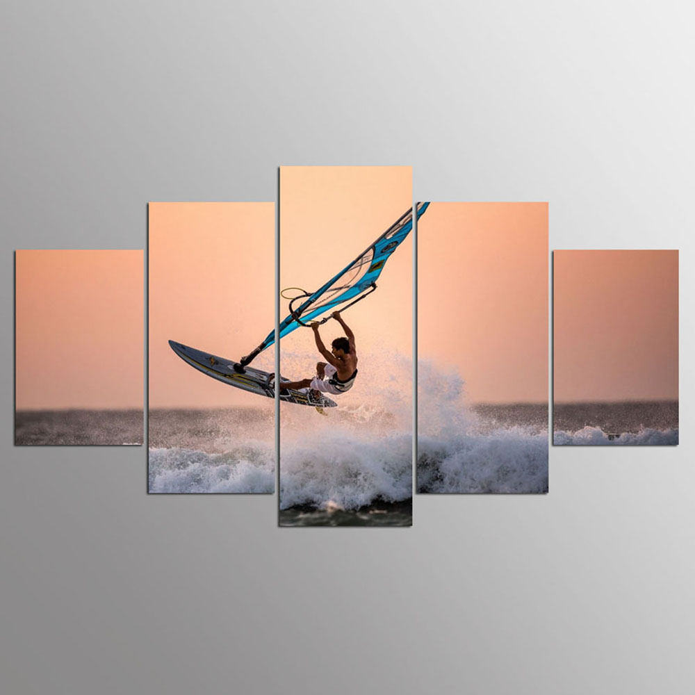 YSDAFEN 5 Panel HD Printed Ocean Surfing Group Canvas Print Room Decor