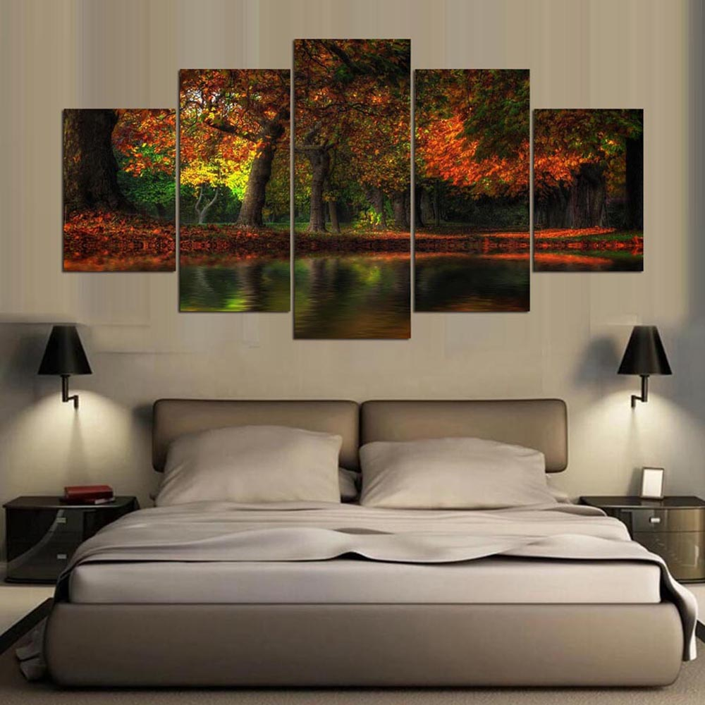 YSDAFEN HD Printed Fall Flood Group Canvas Print Room Decor Print Poster Picture