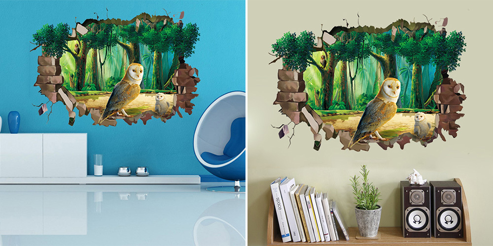 Creative 3D Owl Pattern Decorative Wall Sticker House Decoration