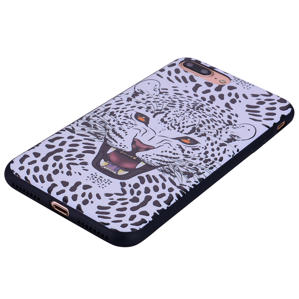 Snow Leopard Phone Case for IPhone 7 Plus Cartoon Relief Soft Silicone TPU Cover Cases Protection Phone Bag with