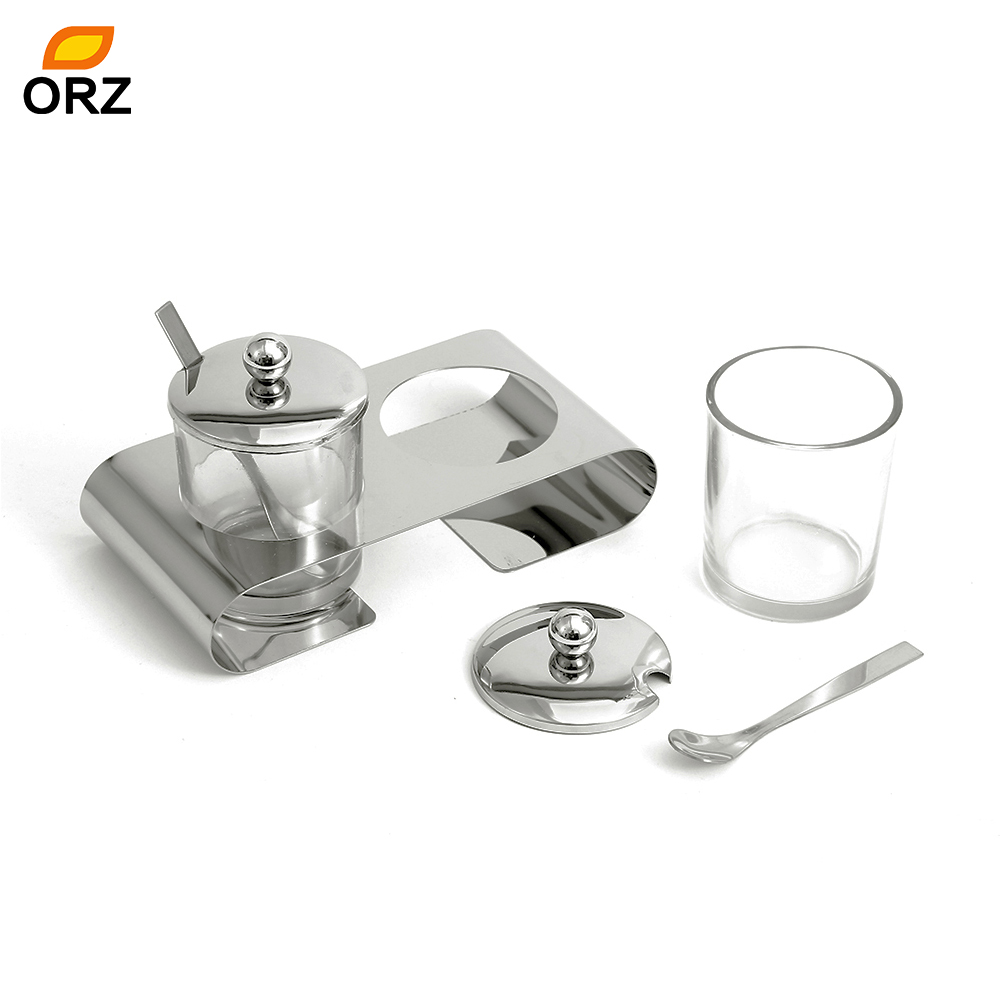 ORZ Glass Spice Jar Seasoning Box Set Salt Sugar Condiment Cruet Storage Box With Spoons Base Kitchen Tools